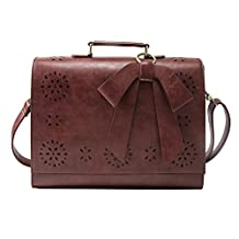 "ECOSUSI Ladies Vintage PU Leather Briefcase Laptop Bag Cases Crossbody Document Messenger Bags Fit 14"" Laptop"