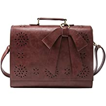 "ECOSUSI Ladies PU Leather Laptop Bag Briefcase Crossbody Messenger Bags Satchel Purse Fit 14"" Laptop, Brown"
