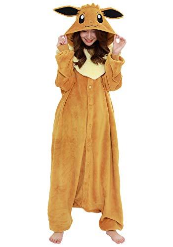 SAZAC Kigurumi - Pokemon - Eevee - Onesie Jumpsuit Halloween Costume - Adult One Size Fits All Brown