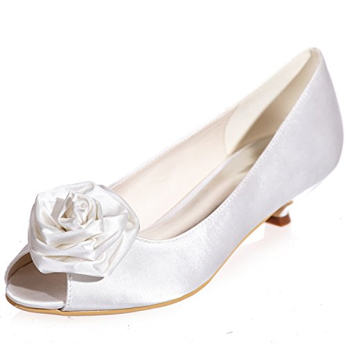 Clearbridal Women's Satin Low Heel Open Peep Toe Wedge Heel Wedding Bridal Court Shoes with Hand Made Flower ZXF0700-15 White