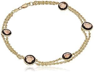"""10k Yellow Gold Round Smoky Quartz Semi Precious Stationed Link Charm Bracelet, 8"""""""