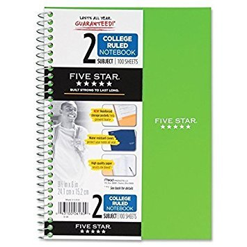 "Mead Five Star Spiral Notebook, 2 Subject, 6"" x 9.5"", 100 Sheets, 3 Pack, Assorted Colors (6180)"