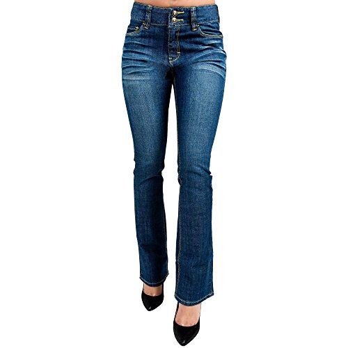 Miss Halladay Women's Stretch Denim Whisker Medium Blue Wash Skinny Bootcut jeans Two-Button Waistband, Blue, 14-STD (Boot Cut Skinny Jeans)