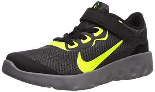Nike Unisex Explore Strada Pre School Velcro Sneaker, Black/Volt-Gunsmoke, 12.5C Regular US Little Kid