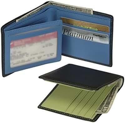 Royce Leather Men's Men's Bifold Wallet With Double ID Flap