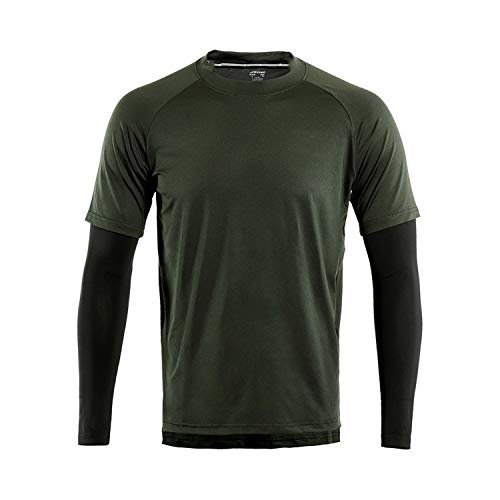 Men's Sport Quick Dry Fit Running Shirt Long Sleeve T Shirt with Compression Elastic Gym Sports Jersey,Green,M