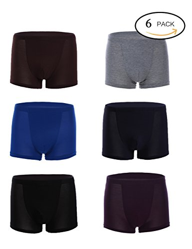 Men S Modal Cotton Underwear Boxer Brief Trunk With Seamless Comfort Soft Feature 6 Pack  X Large