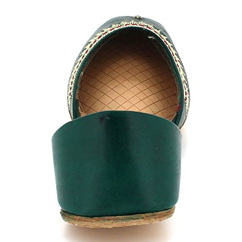 Fait Aarz Cuir Dames Main London Femmes Chaussures Ethnique Glisser Pompes Plat Sur Vert Khussa Indiennes Taille Traditionnel rgSqXdS0yw