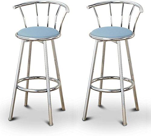 2 Baby Blue Vinyl Specialty / Custom Chrome Barstools with Backrest Set (Bar Blue Light Stools)