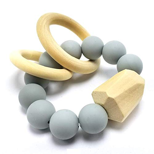 MOM & Company BPA-Free Silicon & Wood Modern Teething Toy fo