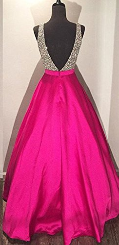 Bessdress Robes De Bal V-cou Perles Corsage À Long Blush Bd233 Robe De Soirée
