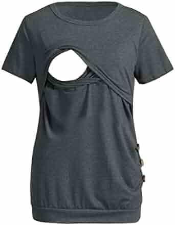 c6dba7f00d51e Luonita Womens Maternity Breastfeeding T-Shirt Short Sleeve Blouse Button  SideTops
