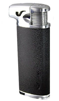 Vector Elio Angled Flame Pipe Lighter w/Built-in Tamper (Black Crackle)
