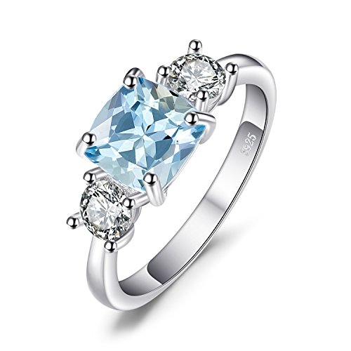 JewelryPalace Classic 2ct Square Genuine Sky Blue Topaz Engagement Anniversary Ring 925 Sterling Silver