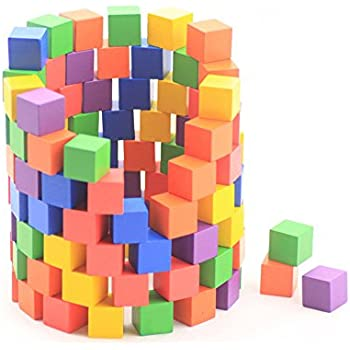KiHomy Early Childhood Wooden Building Block Toys, Colorful Wood Cubes for Crafts and Carving, 180 pcs
