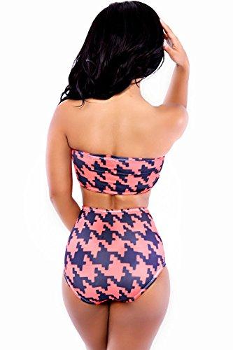 Nuevas señoras rojo y azul sin tirantes 2piezas Bikini Swimwear Beachwear verano desgaste tamaño M UK 10–�?2EU 38–�?0