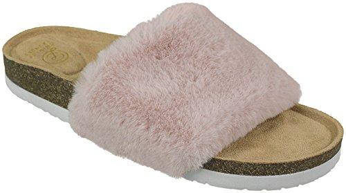 Chinese Laundry Ladies Faux-Fur Fashion Slide Sandal Flip Flop, Pink, Size 7