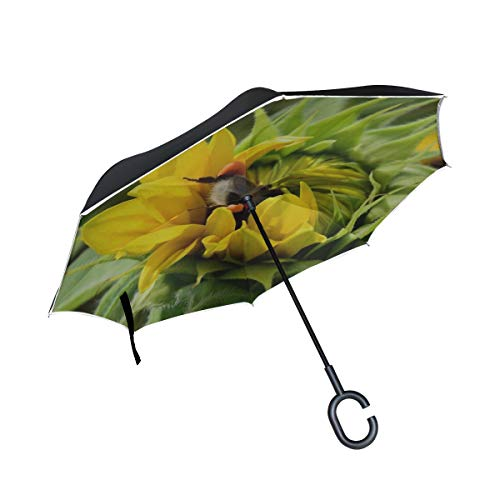 Rh Studio Inverted Umbrella Rain Sun Car Reversible Umbrella Hummel Sunflower Search Food Large Double Layer Outdoor Upside Down Umbrella with Women with Uv Protection C-Shaped Handle