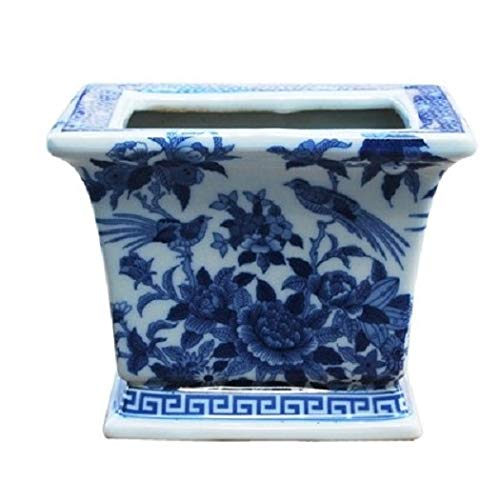 C.S. Blue and White Square Porcelain Planter Bird and Floral Motif