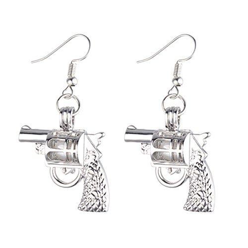 Gun Pearl - HENGSHENG Handgun/Gun/Pistol Cage Drop Earrings Women Locket Unique Dangle Earrings (E211) (White)