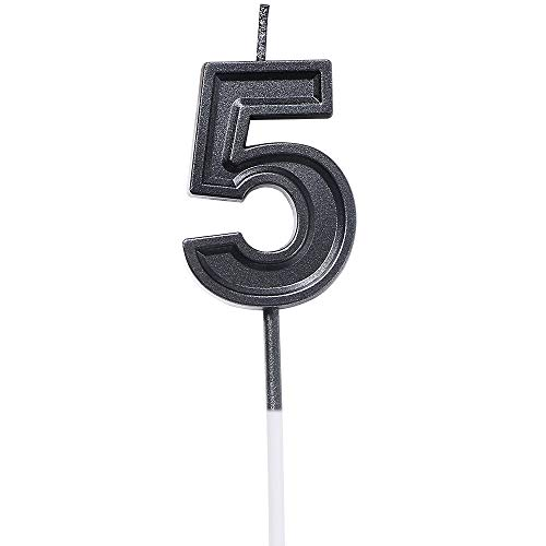 - URAQT Birthday Candles Numbers, Black Glitter Birthday Numeral Candles for Birthdays, Weddings, Reunions, Theme Party, Number 5
