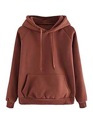 ROMWE Women's Casual Kangaroo Pocket Drawstring Hoodie Pullovers