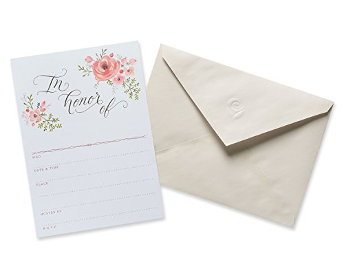 Invitations Cream (American Greetings Floral Bridal Shower Invitations and Cream Envelopes, 20-Count)