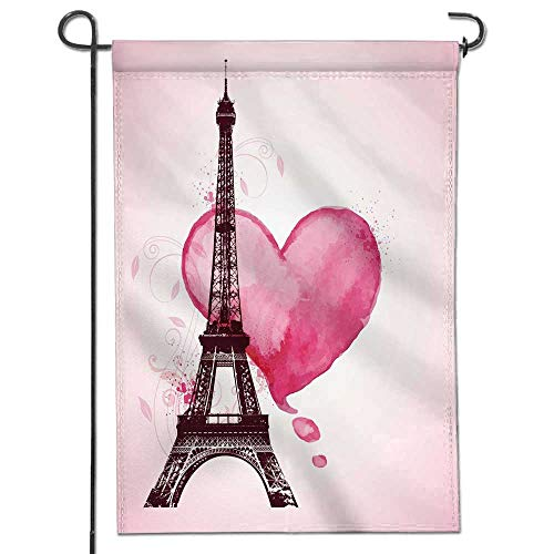 Jiahonghome Memorial Garden Flags Romantic Valentine with red Watercolor he and Eiffel Tower Holiday Decoration Double Sided Flag12 x 18