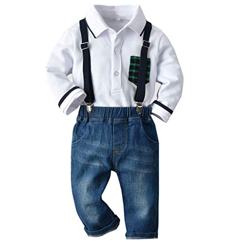 Toddler Gentleman Outfit,Crytech Baby Boy Plaid Patch Pocket Long Sleeve Button Up Hooded Polo Shirt Bib Denim Jeans Pants for Casual Sport Spring Autumn Overalls Clothes Set (3-4 Years, White)