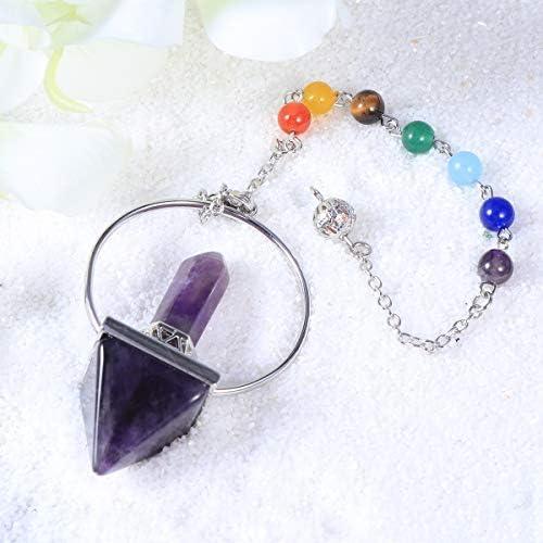 Vosarea 7 Chakra Cristal Natural Energ/ía Pendulum Collar Prisma Hexagonal Piedras de pir/ámide Colgante Amatista