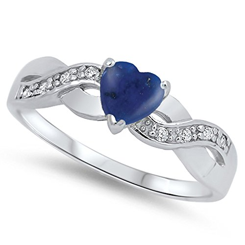 (925 Sterling Silver Cabochon Natural Genuine Blue Lapis Infinity Knot Heart Promise Ring Size 4)