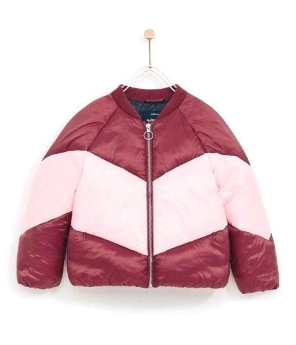 Zara Girls Quilted Bomber Puffer Jacket Burgundy Size 10