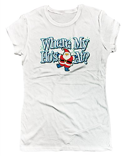 SpiritForged Apparel Where My Hos at Junior's T-Shirt, White ()