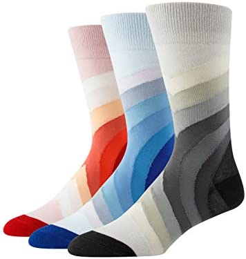 Men's Novelty-Dress Socks, Fun Pattern Crew Socks, Colorful-Funky-Funny Socks 3 Pairs Hicomlor