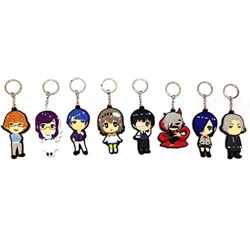 Tokyo Ghoul Kaneki Ken Touka Kirishima Shuu Tsukiyama PVC Figure Keychains 8pcs/set