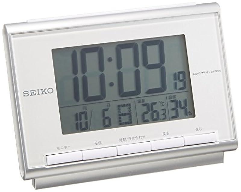 세이코 clock 자명종 전파 디지탈 캘린더 온도 습도 표시백 펄 SQ698S SEIKO