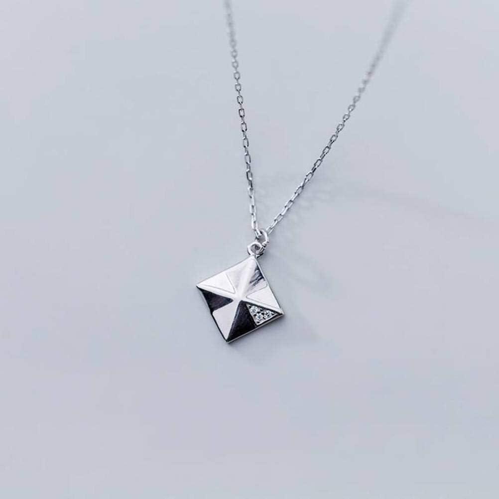 S&RL S925 Collar de Plata de Las Mujeres de Estilo Japonés Y Coreano Geometría de Moda Collar Colgante de Diamantes Estilo de la Cadena de la Clavícula Geometría de la Joyeríaplata, Plata 925