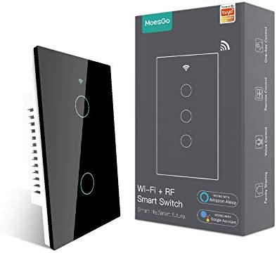 MoesGo 2nd Generation WiFi RF433 Smart Touch Wall Single Wire Smart Switch,No Neutral Wire Needed Compatible with Smart Life/Tuya App, Works with Alexa and Google Home Single Pole 110V Black 2 Gang
