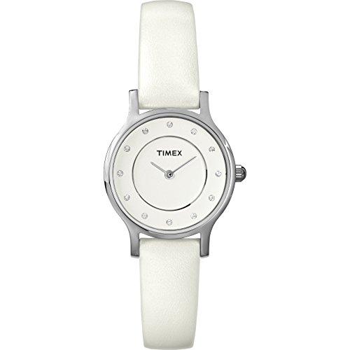 - Timex Women' Seattle | White Band Minimal Dial Silver Case Fashion Watch T2P315