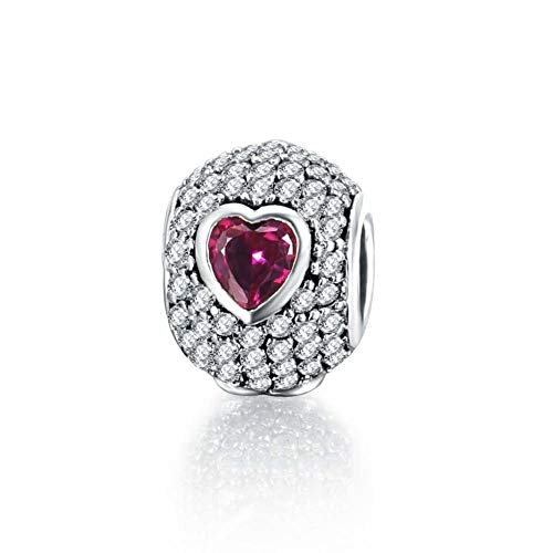 Hurmaa Encantos Heart Pink Purple Birthstone Charms Bead for Bracelet Mom Dad Sister Wife