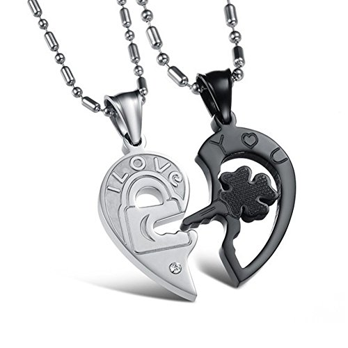 Love Necklace Set - YiaMia(TM) Lover Necklace for Couples with Pendant Stainless Steel Love Necklaces for Woman/...