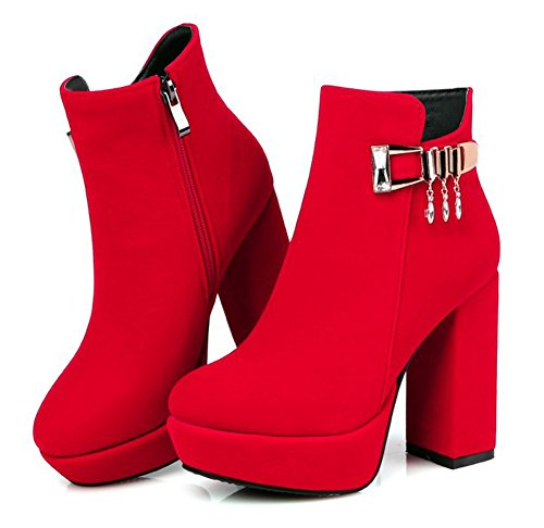 Vestido De La Plataforma De La Cremallera Del Lado Del Dedo Del Pie Redondo De La Moda De Las Mujeres De Aisun Zapatos De Botines Tacones Apilados Rojo