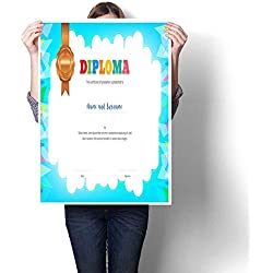 "smllmoonDecor Living Room Home Office Decorations Kids Diploma or Certificate Template with Colorful Background Decorative Fine Art Canvas Print Poster K 16"" x L 24"""