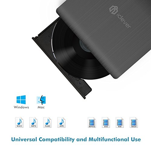 iClever USB 3.0 External DVD CD Drives, High Speed CD/ DVD RW Burner for PC Laptop Desktop Support Apple Macbook Pro/ Air, Win 7/ 8/ 10 and Sumsung S8/ S8 Plus