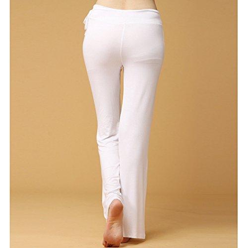 Pantalone Comodi Bianca Casuale Pigiama Donna da Yoga Vita Pilates Lunghi Pantaloni Alta Cayuan a Largo Pantaloni Elastico RO4WqRZdw6