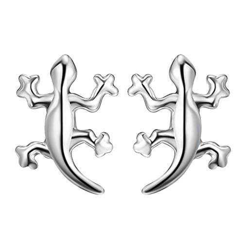 (Sterling Silver Plated Smooth Face 3D lizard Charm Stud)