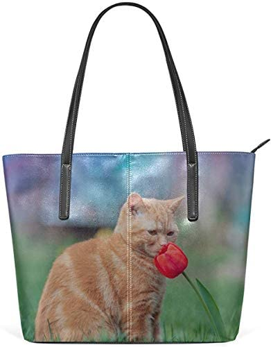 Leder Tasche Laptop Tote Bag Cat Smell of Beautiful Flower Large Printed Shoulder Bags Handbag Pu Leather Zipper Tote Handle Satchel Purse Lightweight Work Tote Bag