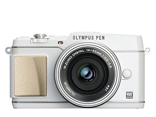 Olympus Pen E-P5 Kamera (16,1 Megapixel, Full HD, 7,6 cm (3 Zoll) Display, WiFi) inkl. 14-42mm Pancake Objektiv und Ledertrageriemen, weiß