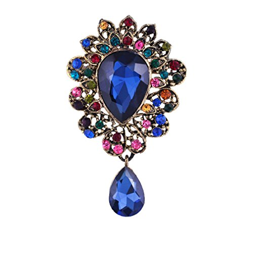 Flower Pin Pendant (YAZILIND Lily Flower Inlaid Rhinestones Alloy Zirconia Pendant Brooch Pin Women Girls Accessories(Blue))