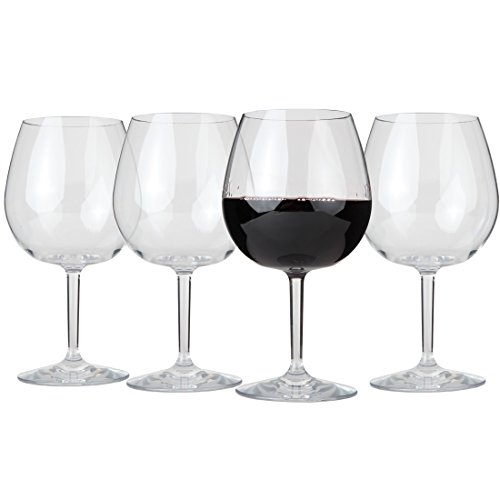 Lily's Home Unbreakable Red Wine Glasses, Made of Shatterproof Tritan Plastic and Ideal for Indoor and Outdoor Use, Reusable (22oz each, Set of 4) (Oz Glass 22 Wine)